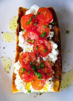 Cottage Cheese and Tomato on Baguette Breakfast...always have lots of left over cottage cheese-here's a way to use it up