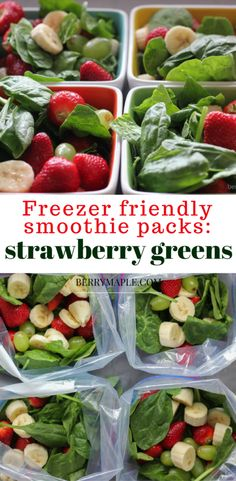 Make ahead strawberry green smoothie packs that you can freeze! How awesome is that! You can use them for breakfast or as a healthy snack! Try it!