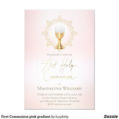 First Communion pink gradient Invitation