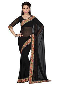 $31.40 - Utsav Fashion Black Faux Georgette Saree with Blouse Utsav Fashion http://www.amazon.com/dp/B015W1QSLG/ref=cm_sw_r_pi_dp_ZjgNwb0E5B336