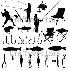 Fishing Silhouettes Vector File SVG