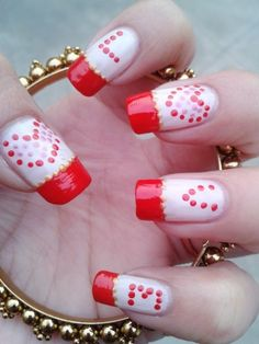 Valentine's nail art design - Red Love
