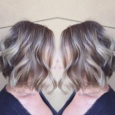 Balayage ombre short to long hair bob dimension