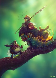 Frogs v insects. I honestly dont know where this image comes from. However its a fun style. I think it could be fun to be pushed in the Raymon Legends direction. other variations could be, insects v reptiles, insects v insects, slugs v pillbugs,. Character Art, Character Design, Dragons, Fantasy Artwork, Creature Design, Fantasy Creatures, Fantasy Characters, Amazing Art, Awesome