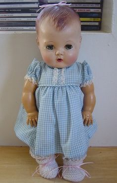 Vintage 1950's American Character Tiny Tears Baby Doll Molded Hair 13""