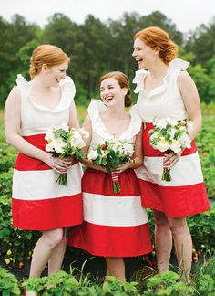 red + white striped dresses | Katie Stoops #wedding