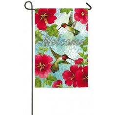 """Hummingbird & Hollyhock"" Printed Suede Seasonal Garden Flag; Polyester 12.5""x18"" #summertime #summer #banners #gardenflags #flagsaflying"