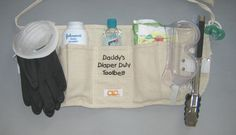 Daddy Diaper Duty Toolbelt - Love making these for Dads at Baby Showers! Baby Shower Games, Baby Shower Parties, Baby Boy Shower, Daddy Survival Kits, Survival Gear, Gifts For New Dads, Dad Gifts, Baby Presents, Baby Shower Presents
