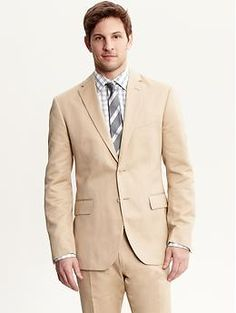 A great khaki chino suit for Spring and Summer from BR's Mad Men collection. I'd switch in some darker brown buttons though, for contrast.