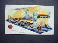 1933 Chicago Worlds Fair Gulf Oil Gas Co Exhibit Postcard