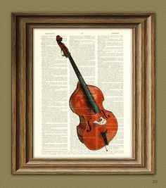 UPRIGHT ACOUSTIC BASS illustration beautifully upcycled dictionary page book art print