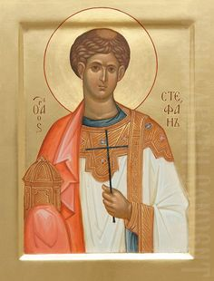 painted icon of holy protomartyr archdeacon stephen Byzantine Icons, Byzantine Art, Paint Icon, Hand Carved, Hand Painted, Saint Stephen, Orthodox Icons, Saints, Artwork