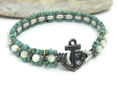 Mother of Pearl Nautical Bracelet, Turquoise Seed Bead Macrame Bracelet, Stacking, Anchor, Boho Style, Beaded Jewelry, Small Bracelet