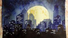 Как научиться рисовать: УРОК 8. Ночной город акварелью