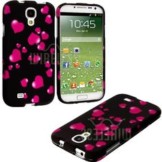 """Amazon.com: myLife (TM) Pink Hearts Rain Series (2 Piece Snap On) Hardshell Plates Case for the Samsung Galaxy S4 """"Fits Models: I9500, I9505..."""