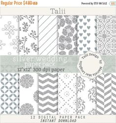 ON SALE Silver Digital Paper SILVER Wedding Paper- 12 pages in silver glitter and white background, wedding graphics, silver sparks