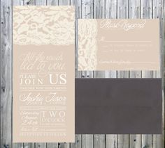 Shabby Chic Vintage Lace Invitation and Response by Todaytilido, $129.00