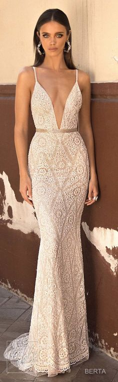 How pretty is that lace pattern on the skirt?! Berta Seville Wedding Dress Collection #weddingdress #bridalgown