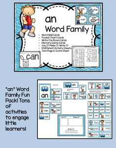 Word Families are an excellent way to introduce reading to children.   This set of an Word Family Activities is packed full of fun and will engage your students all week long. There are enough extra practice pages included in this set you can use them for homework, early finishers or as morning work.