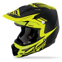 Fly Racing MX Carbon Helmet Motocross Dubstep Black Hi Viz Bmx Gear, Dirt Bike Gear, Motocross Helmets, Racing Helmets, Fox Helmets, Snowmobile Helmets, Dubstep, Mtb, Best Bmx