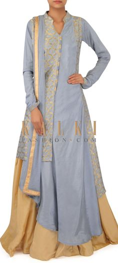 Grey suit matched with beige lehenga only on Kalki