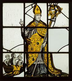 Zeventiende eeuws glas-in-lood raam met Sint Nicolaas en het wonder van de drie schoolkinderen, afkomstig uit de Sint-Christoffelkerk te Roermond.