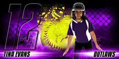 10x20 Photo Template For Softball - Shattered Softball