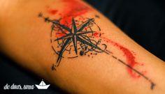 Tattoo Rosa dos Ventos Aquarela - Desenho: de duas, uma | Tattoo e Aquarela: Victor Octaviano ♥ - www.deduasuma.com - Compass Watercolor Tattoo