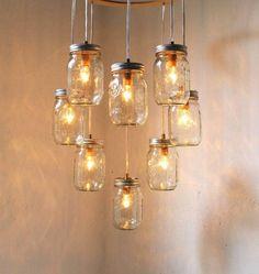barattoli di vetro cascata di lampadine