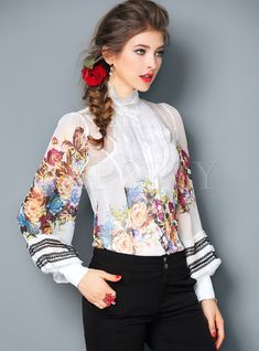 Shop Elegant Multicolor Non-locating Print Falbala Lantern Sleeve Blouse at EZPOPSY. Vintage Style Dresses, Casual Dresses, Fashion Dresses, One Piece Dress Online, Street Hijab Fashion, Sophisticated Outfits, Mexican Dresses, Spring Shirts, Chiffon Ruffle