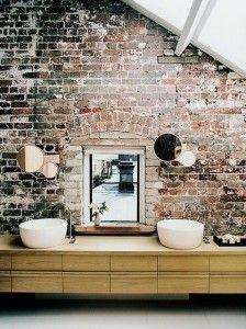Beautiful exposed brick wall in this bathroom. This is why I wish my loft was old! I love the character. Rustic Bathroom Designs, Rustic Bathrooms, Industrial Bathroom, Chic Bathrooms, Design Bathroom, Industrial Apartment, Kitchen Designs, Brick Bathroom, Bathroom Interior