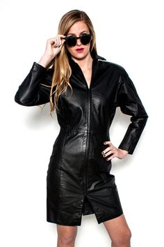 1980s Long Sleeve Black Leather Dress by Parade NY by Cavortress #leatherdress #sunglasses