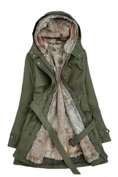 #Womens #Thick #Sash #Detachable #Faux #Fur #Lining #Hooded #Overcoat Green