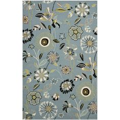 Anchor your patio seating group or keep your entryway looking chic with this versatile rug, showcasing a floral motif.  Product: