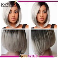 Hot selling grey ombre hair color human hair short bob lace wig free shipping