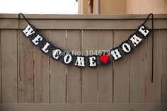 Free Shipping 1 X Black Handmade WELCOME HOME Banner Wedding Garland Birthday Party Photography  Decoration