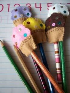 Felt Dessert Picks (or pencil toppers) Tutorial - All Things Cupcake
