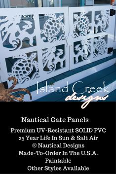 Custom Exterior PVC Vinyl Shutters w/ Nautical Cutouts, Decorative Exterior PVC House Trim, Nautical Vinyl Porch Railing Panels & Gates. Porch Gate, Deck Gate, Stair Gate, Beach House Pictures, Beach Porch, Vinyl Gates, Gate Decoration, Key West Style, Entryway Stairs