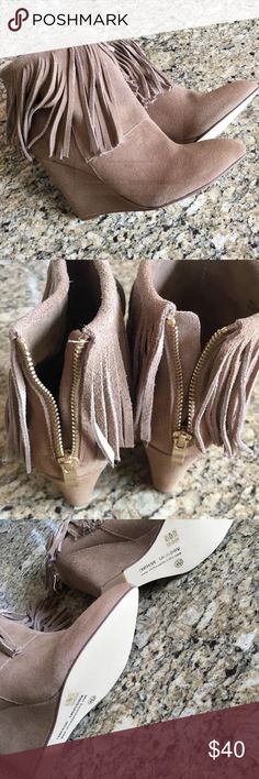 Fringe booties Never worn- they have always been kept in the box. Gold zipper on the back. Chinese Laundry Shoes Wedges