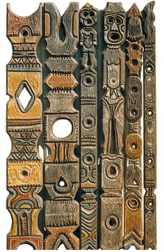 Arts And Crafts Tile Product Tiki Art, Tiki Tiki, Tiki Lights, Tiki Hawaii, Jungle Decorations, Foam Carving, Tiki Bar Decor, Tiki Totem, Tiki Lounge