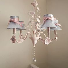 Crystal Flower Chandelier with Shades and Sashes | Carousel Designs  #carouseldesigns #nursery