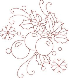 Christmas Redwork embroidery design~kinshipkreations by Nana Jean