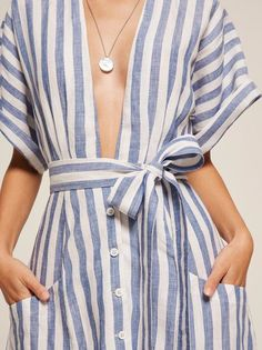 You might need a bit of boob tape. This is a button front, midi length dress with a very low v neckline, a kimono sleeve and detached belt. Style Outfits, Mode Outfits, Skirt Outfits, Dress For Summer, Summer Outfits, Looks Style, Style Me, Marine Look, Maxi Robes