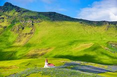 Vik Church Iceland - Lovely little church in mountain landscape, fresh green grass and blue sky - icelandic summer! Click on the link or the image to buy a poster, fine art print or canvas print: http://matthias-hauser.artistwebsites.com/featured/iceland-mountain-landscape-with-church-in-vik-matthias-hauser.html 30 days money back guarantee. (c) Matthias Hauser hauserfoto.com #fineart #photography