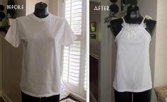 DIY Halter w/ ruffle ~ cute w/crochet lace or t-shirt material?