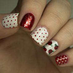 Holiday Red Rose Nail Art
