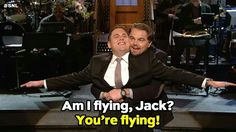 Oh my gosh!  SNL right now Jonah Hill and Leonardo DiCaprio