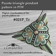 Peyote triangle patterns, pattern for triangle pendant, peyote patterns, beading, peyote stitch, digital file, pdf pattern #021P_Tr