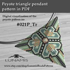 Peyote triangle patterns, pattern for triangle pendant, peyote patterns, beading, peyote stitch, digital file, pdf pattern #021P_Tr