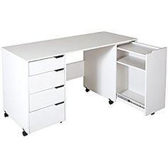 South Shore Crea Sewing Craft Table on Wheels, Pure White